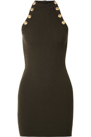 Button-embellished ribbed wool-blend mini dress