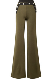 Balmain Button-embellished two-tone stretch-knit flared pants