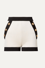 Button-embellished two-tone stretch-knit shorts
