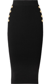 Balmain Button-embellished ribbed wool-blend midi skirt