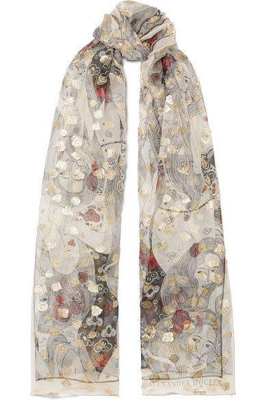 ALEXANDER MCQUEEN Printed Fil Coupé Silk-Chiffon Scarf, Gray