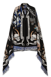 Alexander McQueen Night Fairy embroidered wool-blend scarf