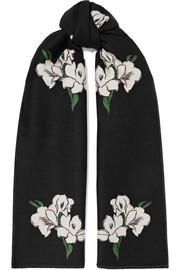 Wool and silk-blend jacquard scarf