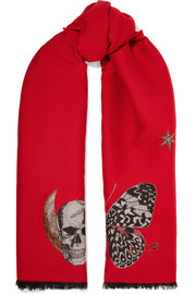 Embroidered wool-blend scarf