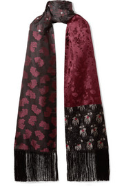 Alexander McQueen Fringed silk-jacquard and cashmere scarf