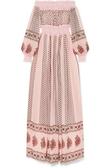 Giambattista Valli - Off-the-shoulder Shirred Lace-trimmed Printed Silk-georgette Gown - Blush