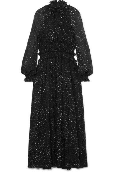 Ruffled printed silk-georgette gown