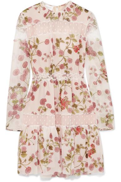 Giambattista Valli - Point D'esprit Tulle-paneled Floral-print Silk-georgette Mini Dress - Blush