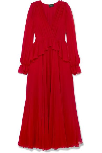 Giambattista Valli - Ruffled Silk-georgette Gown - Red