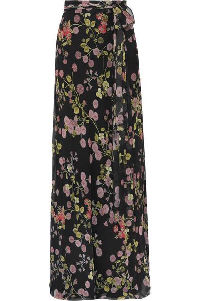Giambattista Valli - Floral-print Silk-georgette Maxi Skirt - Black