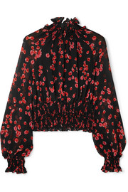 Ruffled floral-print silk-crepe top
