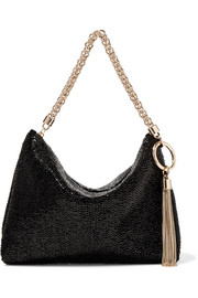 Jimmy Choo Callie beaded satin shoulder bag