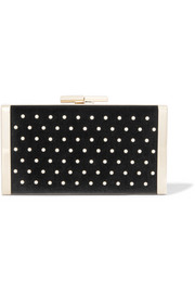 Jimmy Choo J Box faux pearl-embellished velvet clutch