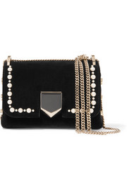 Lockett mini faux pearl-embellished velvet shoulder bag