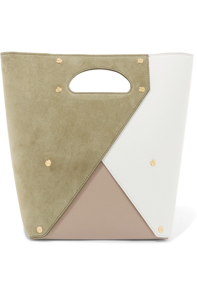 Pablo color-block suede and textured-leather tote