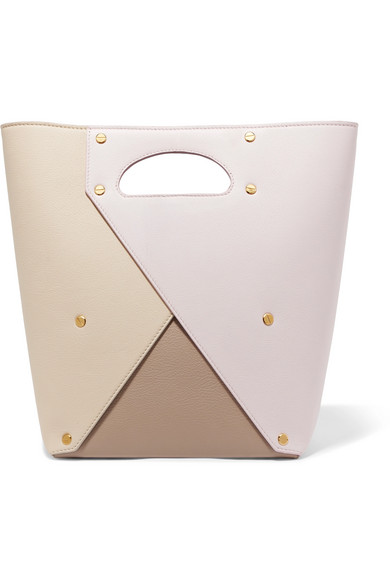 Pablo Color-Block Textured-Leather Tote, Pastel Pink