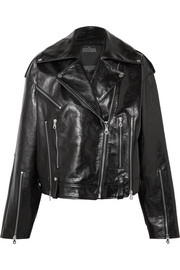 Oversized glossed-leather biker jacket