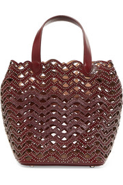 Studded laser-cut leather tote