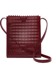 Laser-cut leather shoulder bag