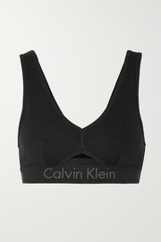 Cutout stretch-cotton soft-cup bra