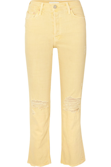 The Tomcat Distressed High-rise Straight-leg Jeans - Pastel yellow Mother 8TWQE