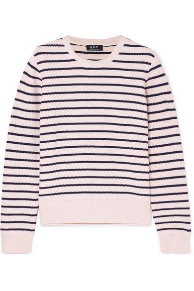 A.P.C. Atelier de Production et de Création - Erika Striped Honeycomb-knit Cotton Sweater - White
