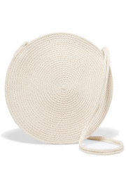 Circle woven cotton shoulder bag