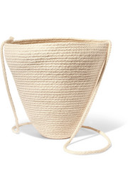 Woven cotton bucket bag