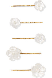 Set of five gold-tone mother-of-pearl hair slides
