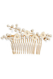 Amelie gold-plated, crystal, Swarovski pearl and enamel hair slide