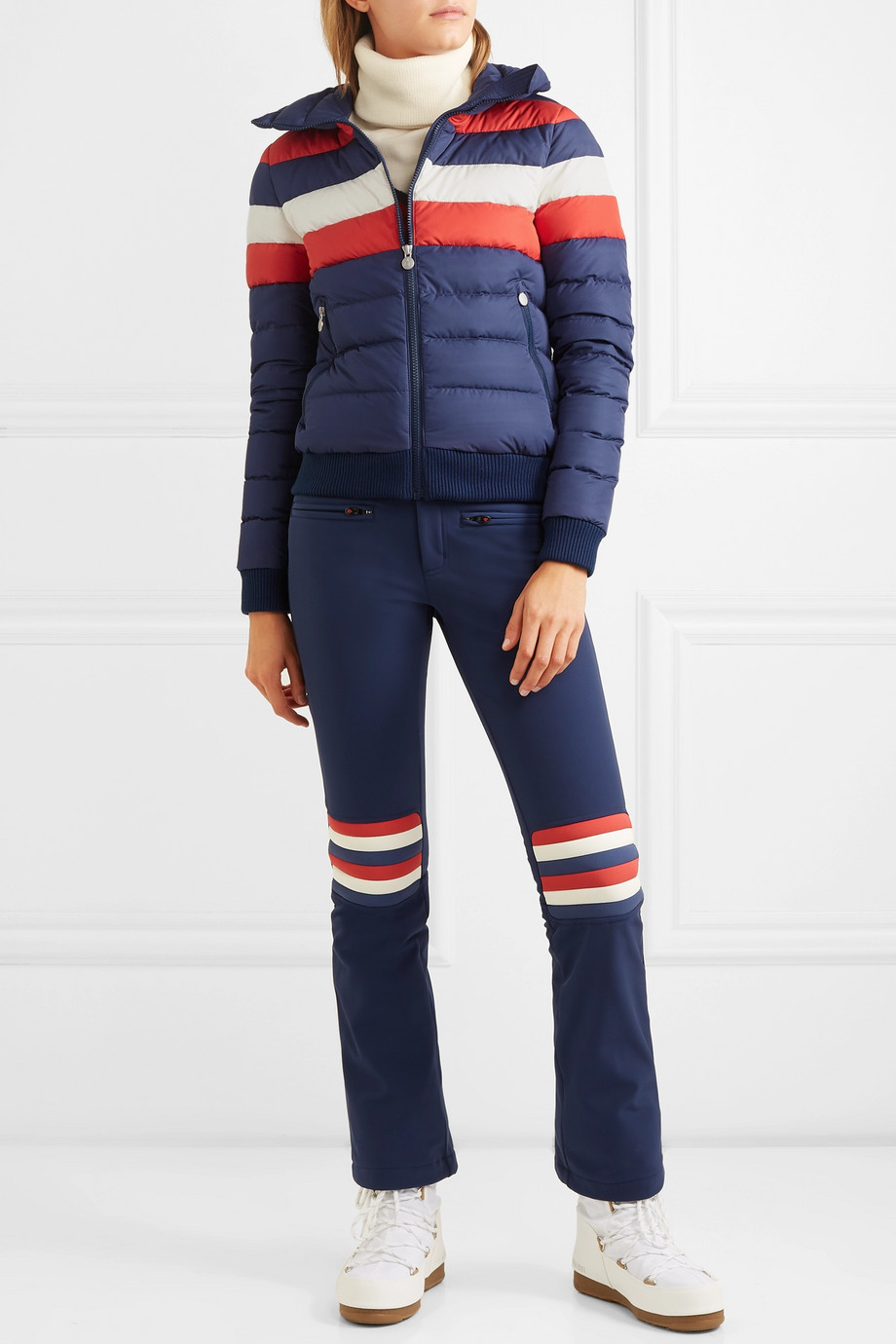 Perfect Moment Queenie striped quilted down jacket