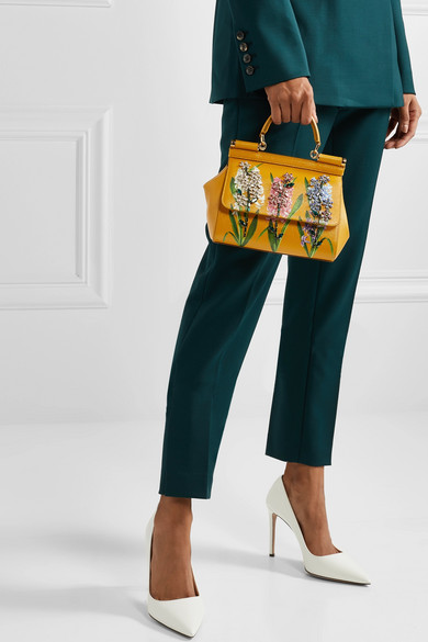 Sicily Small Embellished Printed Textured Leather Tote by Dolce & Gabbana
