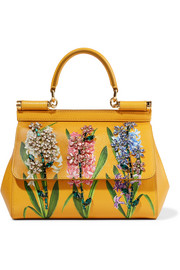 Dolce & Gabbana Sicily small embellished printed textured-leather tote