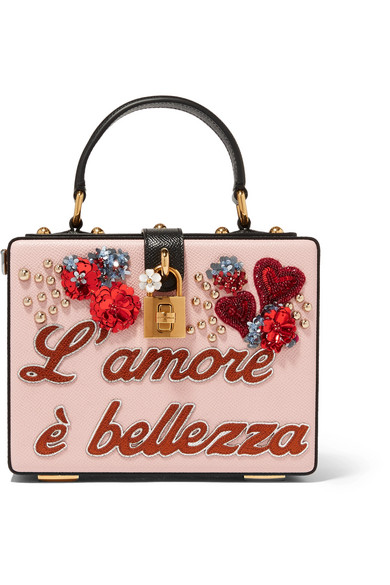 Dolce & Gabbana - Dolce Box Embellished Textured-leather Clutch - Pink