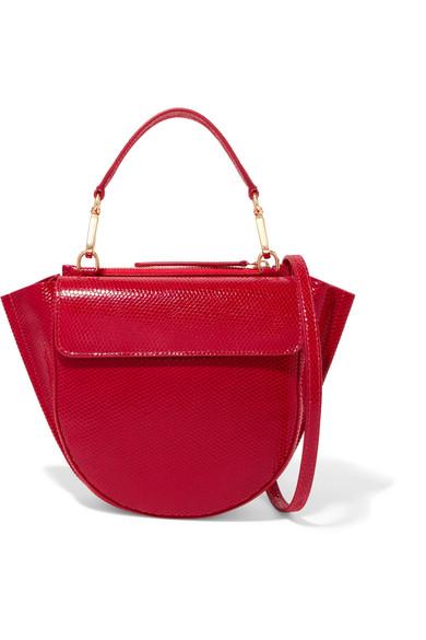 Wandler - Hortensia Mini Lizard-effect Leather Shoulder Bag - Red