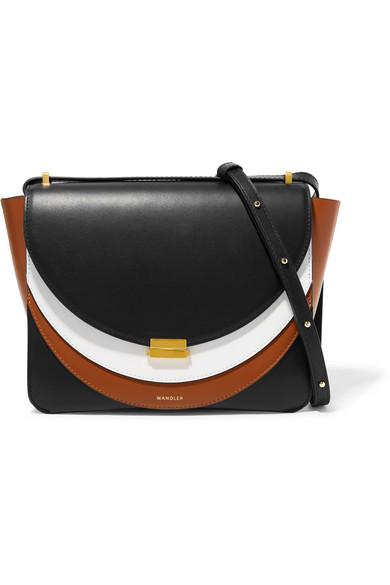 Luna Color-Block Leather Shoulder Bag, Black