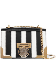 Balmain Striped leather shoulder bag