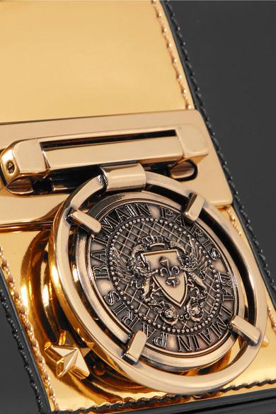 Embellished Two-tone Leather Shoulder Bag - Black Balmain GGv22OcW