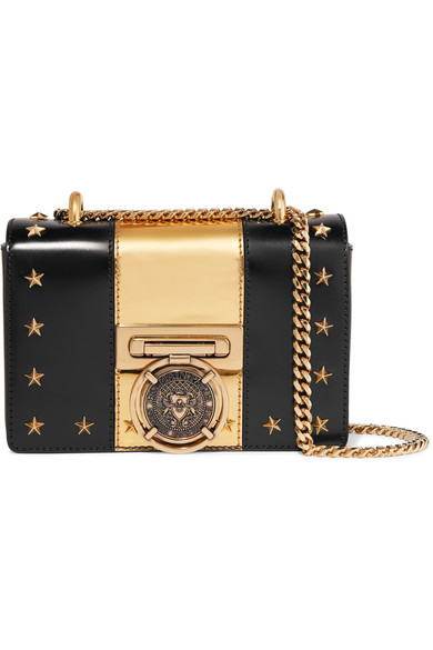 cf8f37f72293 BALMAIN EMBELLISHED TWO-TONE LEATHER SHOULDER BAG ...