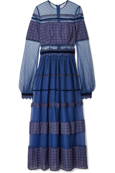 Costarellos - Embroidered Flocked Tulle Gown - Navy