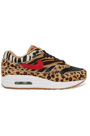 Nike Air Max 1 DLX printed calf hair and suede sneakers