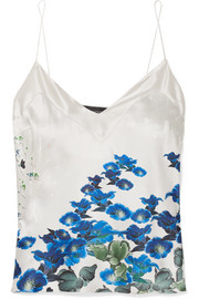 Printed silk-satin camisole