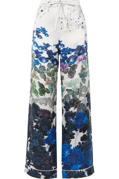 MENG Printed Silk-Satin Pajama Pants in Blue