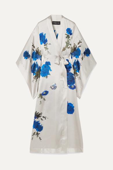 MENG Printed Silk-Satin Robe in White