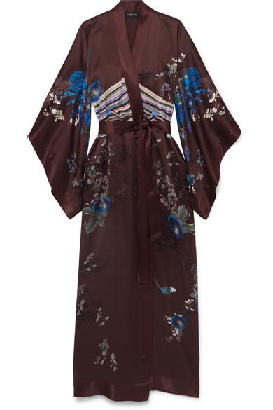 MENG Printed Silk-Satin Kimono in Burgundy