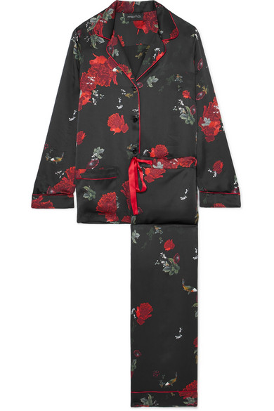MENG Floral-Print Silk-Satin Pajama Set in Black