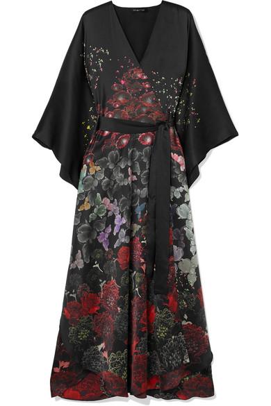 MENG Floral-Print Silk-Satin Robe in Black