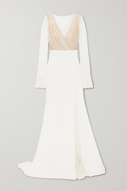 Joni Swiss-dot tulle and crepe gown