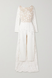 Patsy lace-trimmed embroidered tulle and crepe jumpsuit