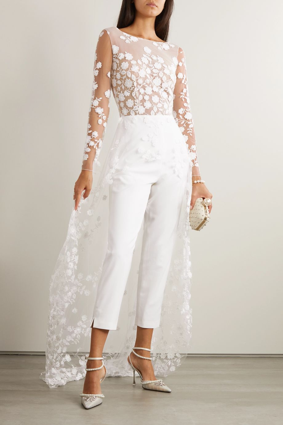 Rime Arodaky Patsy lace-trimmed embroidered tulle and crepe jumpsuit